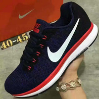 """""""NIKE"""" Sports Knitted jumper wire AIR ZOOM PEGASUS shoes fashion shoes Navy blue red white soles"""