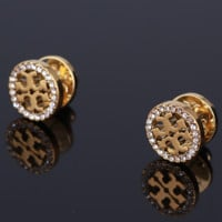 Tory Burch Fashion New Diamond Round Personality Earring Accessories Women Golden