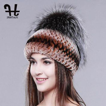 ONETOW fur hat for winter women genuine rex rabbit fur hat with silver fox fur crown knitted beanies new fashion women fur caps