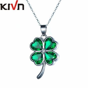 KIVN Womens Fashion Jewelry Lucky Four Leaf Clover Green CZ Cubic Zirconia Wedding Necklaces Mothers Birthday Promotion Gifts