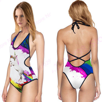 Colorful Unicorn Brazilian Biquinis Rainbow Horse V Neck Monokini Swimwears White Halter High Waist Swimsuit Womens Sexy Cut Out