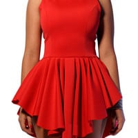 Red Sleeveless Ruffled Cut Out Dress