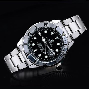 Rolex tide brand fashion men and women fashion watches F-SBHY-WSL Silver + Black Dial