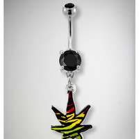 14 Gauge Rasta Leaf Banana Belly Button Ring