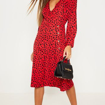 Red Dalmatian Print Tortoise Shell Button Midi Tea Dress