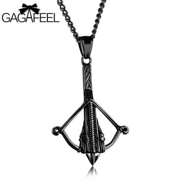 GAGAFEEL Crossbow Pendant Necklace Men Jewelry Bow Arrow Design Stainless Steel Funky Punk Style New 2017 Freeshipping 3 Colors