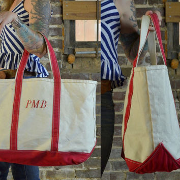 Vintage Large L.L. Bean Red & White Canvas Field Tote Shopper Bag
