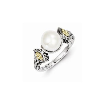 Antique Style Sterling Silver 8-8.5mm Freshwater Cultured Pearl Ring