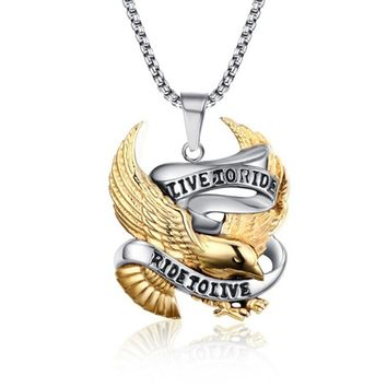 Eagle Necklace Pendant for Men Stainless Steel Metal LIVE TO RIDE Punk Jewelry