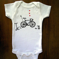 Love Your Bike Baby One Piece Bodysuit Romper by trulysanctuary