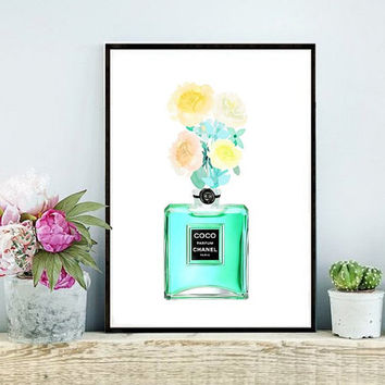 Chanel Perfume Bottle, Coco Chanel print, Printable Art, Chanel Bottle, Art Digital, Fashion print, Instant download, Gift For Her