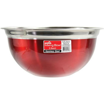 Red Stainless Steel Mixing Bowl - 5 Qt.