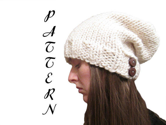 Knitting Pattern Hat With Button : Slouchy Hat Knitting Pattern with Buttons from knittedbyscw