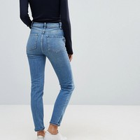 ASOS FARLEIGH High Waist Slim Mom Jeans in Prince Wash at asos.com