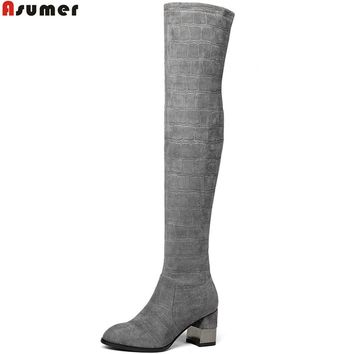 ASUMER 2018 fashion new arrive women boots round toe ladies boots square heel black gray sexy over the knee boots autumn winter