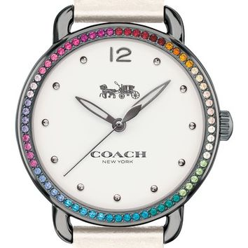 COACH Delancey Pavé Bezel Leather Strap Watch, 36mm | Nordstrom