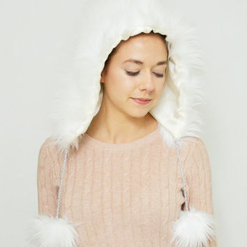 Fur Hood, White Faux Fur Hood, FREE SHIPPING Faux Fur Hat, Silk Lined Faux Fur Hood White Winter Hat, Handmade Faux Fur Hat, Fur Hood