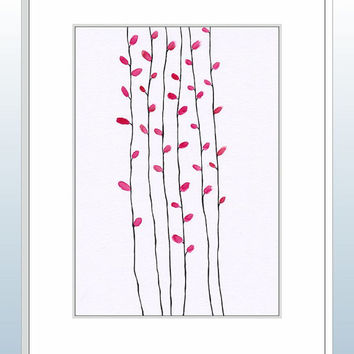 Modern minimalist watercolor sketch of red trees. Autumn illustration. Original wall art for the home.
