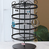 Black Metal Earring Revolving Jewlery Holder Organizer Stand Earring Rack NEW