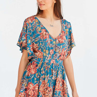 Kimchi Blue Ellana Floral Ruffle-Sleeve Romper - Urban Outfitters