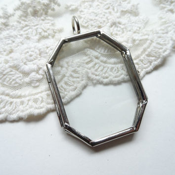 1 Silver Octagon Shaped Metal Clear Glass Double Pane Locket Diy Display Pendant