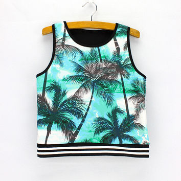 Hot Comfortable Bralette Beach Sexy Stylish Summer Ladies Sleeveless T-shirts Print Crop Top Tops Vest [6044944065]