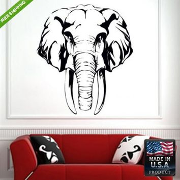 Wall Decal Decal Sticker Beautiful Detailed Elephant Animals Bedroom  z114