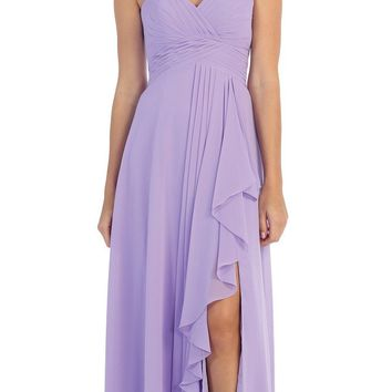Chiffon Front Slit Long Bridesmaid Gown Lilac Strapless