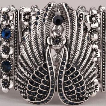 SHIPS FROM USA Angel wings stretch cuff bracelet for women biker crystal punk jewelry antique silver color D05