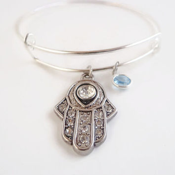 Hamsa Hand Bracelet ~ Hand of Fatima Jewelry , Hand of God , Evil eye protection amulet , Hamesh Bangle, Swarovski Crystal Charm , Good Luck