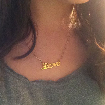 Love Necklace, Dainty Necklace, Small Love Necklace, Valentine's Day Gift, Gold Charm Necklace, Gold Necklace,Gold Love Necklace