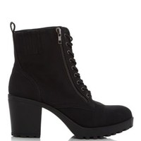 Black Suedette Lace Up Block Heel Boots