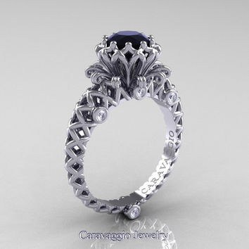 Caravaggio Lace 14K White Gold 1.0 Ct Black and White Diamond Engagement Ring R634-14KWGDBD