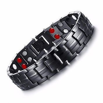 Punk Healthy Energy Bracelet Black Chain Link Bracelets Jewelry Stainless Steel Magnet Bracelets for Men Jewelry