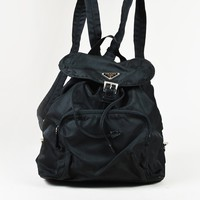 Prada Black Nylon Leather Trim Drawstring Front Flap Backpack