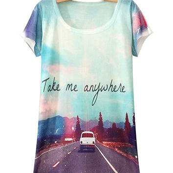 Highway Scenery Print T Shirt
