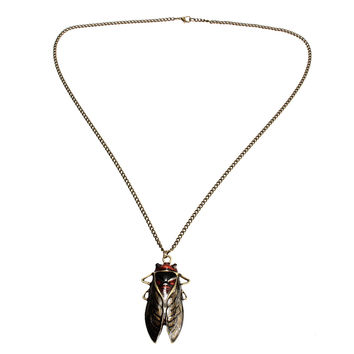 Insect Cicada Pendant Vintage Bronze Necklace