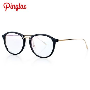PINGLAS Clear Lens Non-polarized Sunglasses Shiny Gold Replaceable Glasses Frame Eyewear Fashion Women Accessories