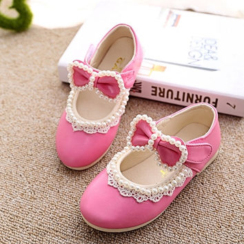 Kids Girls Princess Pearl Bowknot Pumps Soft Leather Flats Slip-On Shoes. = 1705165380