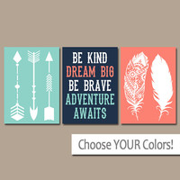 FEATHER ARROW Wall Art- CANVAS or Print- Woodland Nursery Art - Girl Tribal Quote Artwork-Be Kind Brave-Dream Big- Adventure Awaits-Set of 3