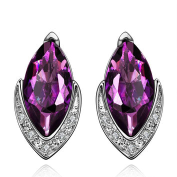 Purple Citrine Diamond Shaped Crystal Jewels Covering Earrings made with Swarovski Elements