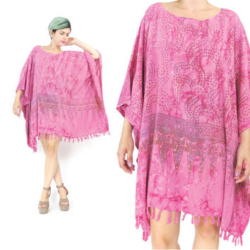 Pink Caftan Dress Kaftan Mini Dress Rayon Oversized Batik Caftan Tassel Fringe Dress Slouchy Muu Muu Slouchy Plus Size Beach Coverup (L/XL)