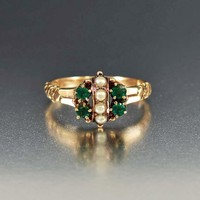 Antique Seed Pearl and Emerald Engagement Ring