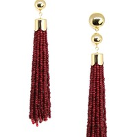 Beaded Mini Duster Earring in Burgundy and Gold