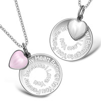 My Heart Belongs to You Forever Inspirational Heart Couples Set White and Pink Cats Eye Necklaces