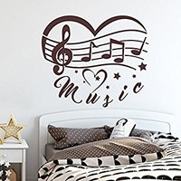 Music Wall Decals Heart Vinyl Notes Stickers Home Decor Baby Nursery Decal MN1026 (19x22)
