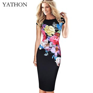 YATHON Floral Print Casual Office Work Bodycon Dress For Womens Ruched Prom Party Bridesmaid Club Knitted Summer Dresses Female