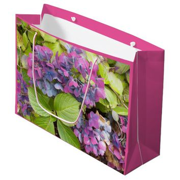 Colorful Hydrangeas Floral Large Gift Bag