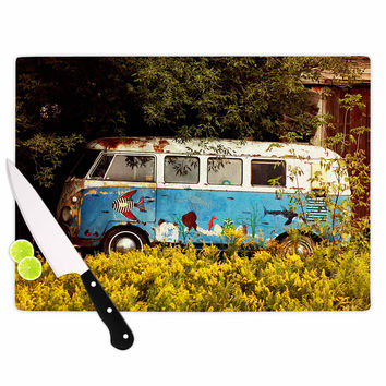 """Angie Turner """"Hippie Bus"""" Blue Yellow Cutting Board"""
