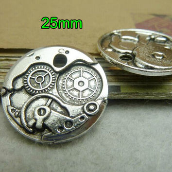 Free Shipping -60 pcs/lot Steampunk Gear Pendant 25mm Round Clock Gears Goth Time Machine Retro Silver Gear Charms